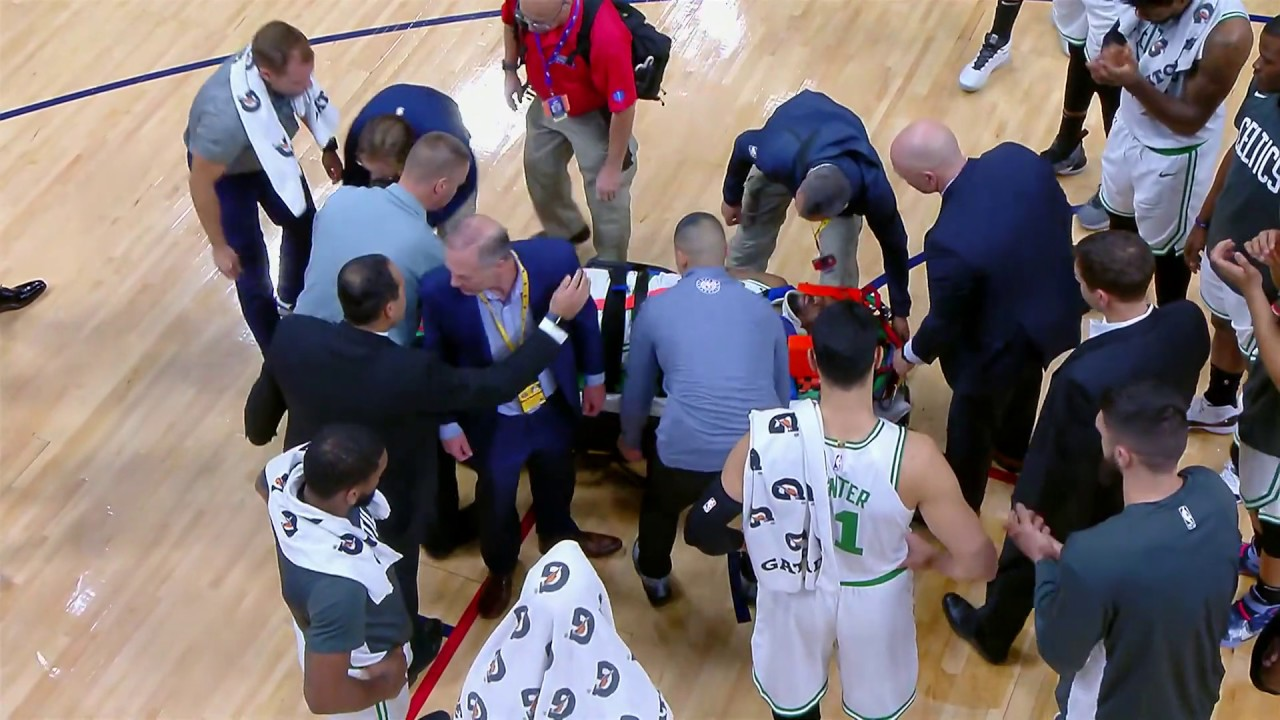 Kemba Walker taken off floor on stretcher after collision with teammate