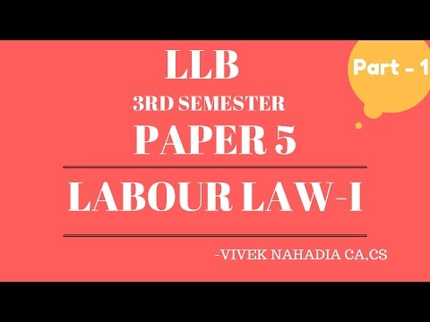 Part 1 Labour and Industrial Laws - 1, Labour Law - 1 LLB 2nd Year 3rd Sem   - CA CS Vivek Nahadia
