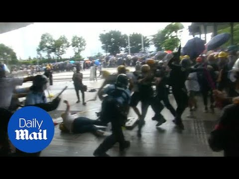 Hong Kong Police Use Batons And Pepper Spray As Protest Turns Violent