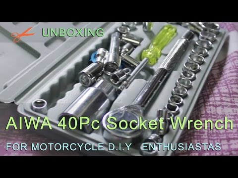 AIWA40pc socket wrench kit for  DIY motorcycle enthusiasts ...  unboxing