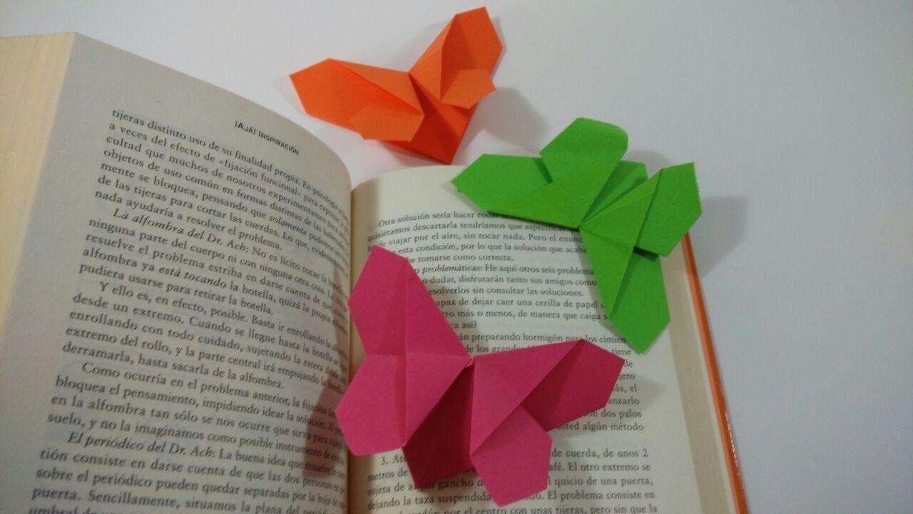 Como hacer un marcapaginas mariposa de papel youtube - Como hacer mariposas de papel ...