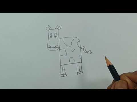 Cara Menggambar Kartun Binatang Sapi Dari Angka 4 Youtube