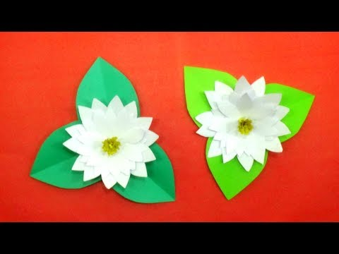 How To Make Easy Paper Water Lily - DIY Paper Flower Water Lily Making - Origami Flowers