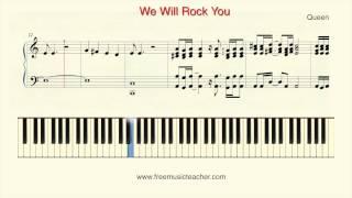 "How To Play Piano: Queen ""We Will Rock You"" Piano Tutorial by Ramin Yousefi"