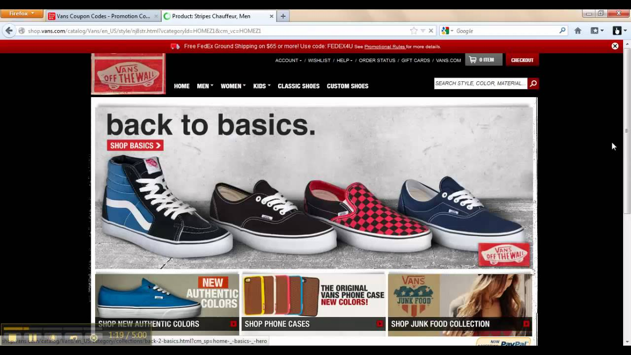 vans shoes promotions