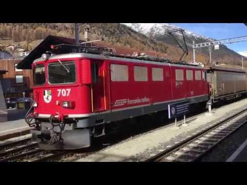Trains RhB à Landquart et Samedan - le 24 octobre 2017 - Transports Publics Suisses