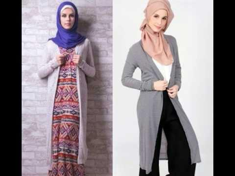 Model Baju Cardigan Panjang Wanita Muslimah Masa Kini Dan