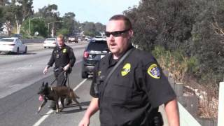 SDPD Foot Pusuit of Armed suspect with K 9 hits suspect 07312016