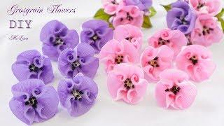 ЦВЕТЫ ИЗ РЕПСОВОЙ ЛЕНТЫ, МК / DIY Grosgrain Flowers