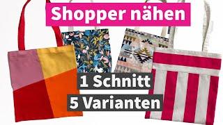 5 Shopper nähen, ohne Schnittmuster, auch für Anfänger