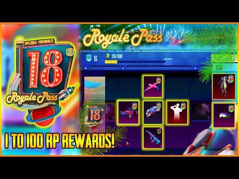 Season 18 Royal Pass Rewards Is Here || 1 To 100 Rp Confirmed Rewards || Free/Paid (Hindi)