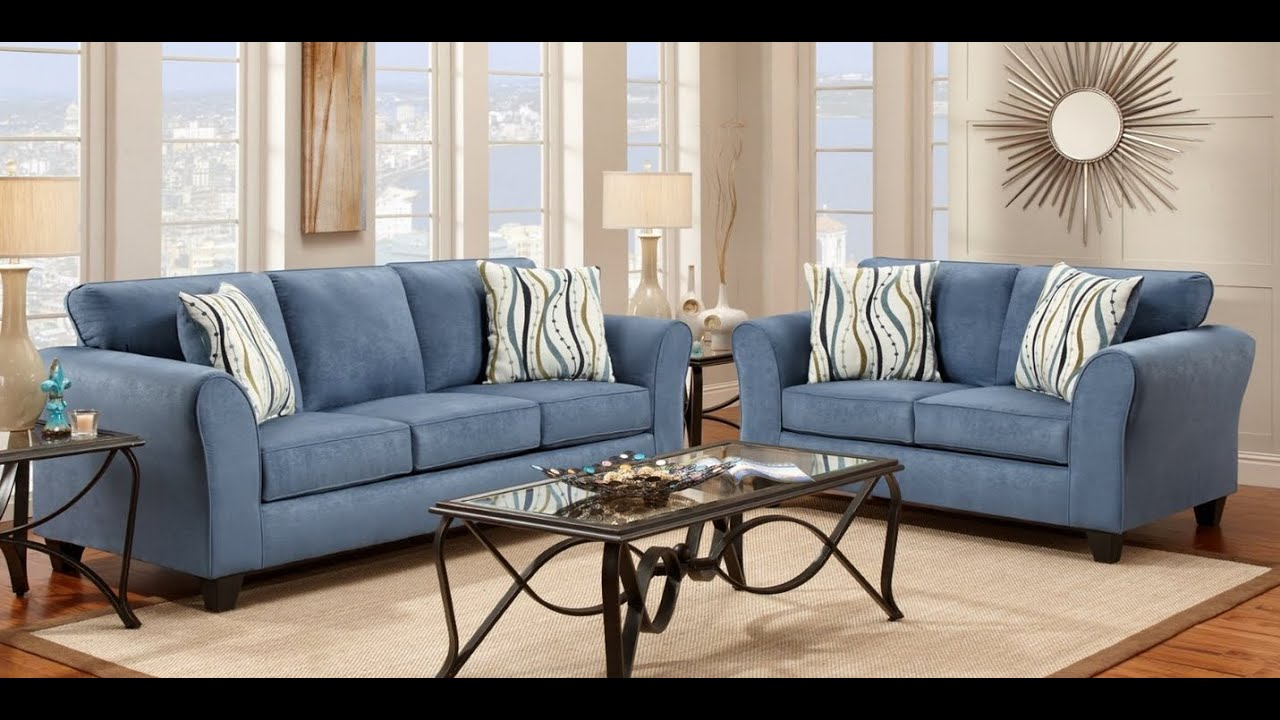 Roundhill furniture microfiber sofa and loveseat set with pillows patriot blue youtube Microfiber sofa and loveseat set