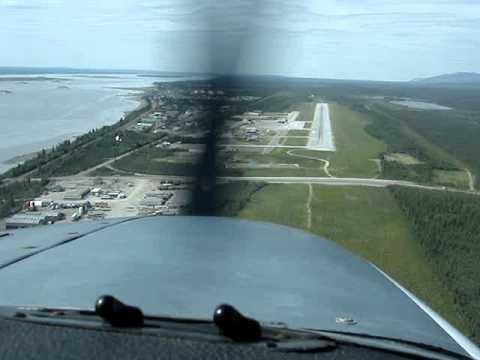 Landing Norman Wells Rwy 27 NWT Canada Cockpit View