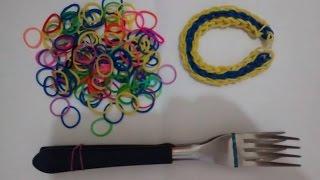 Pulseira Fácil de Fazer Com Garfo  -  Pulseira de Elástico - Pulsera de Gomitas
