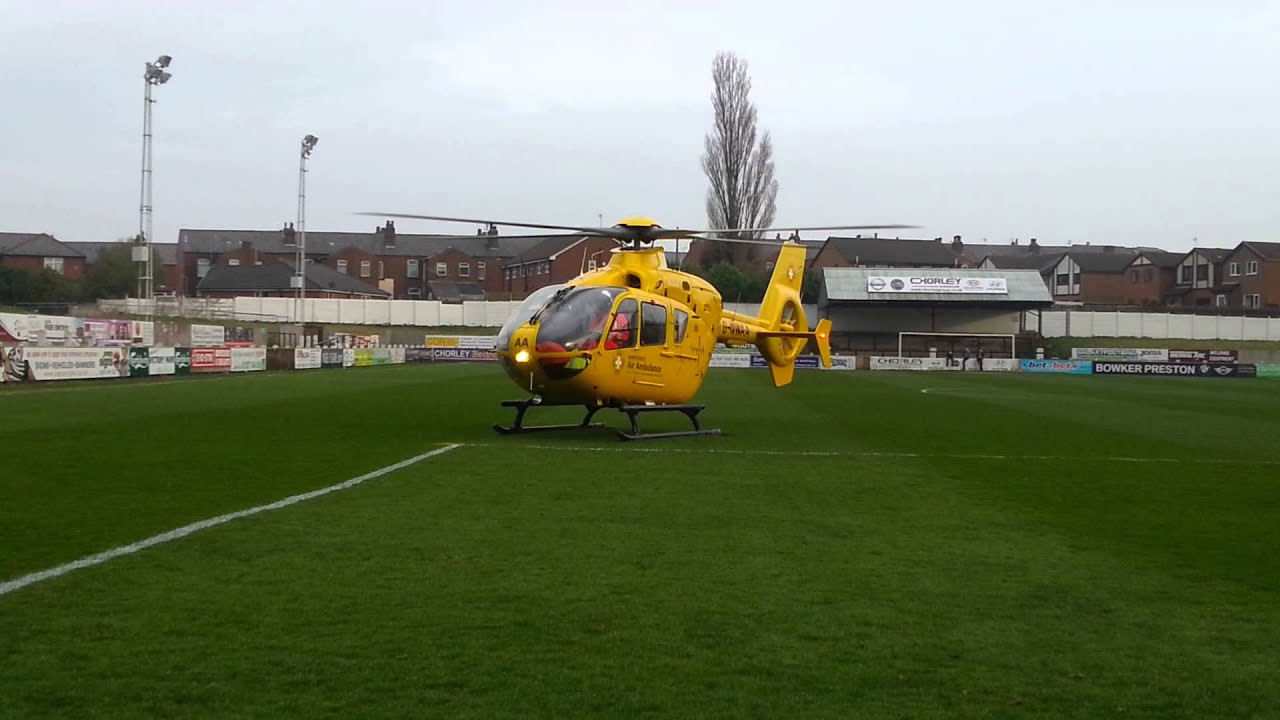 Air Ambulance taking off from Chorley FC - YouTube