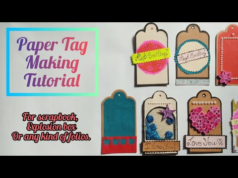 How to Make Paper Tags || For scrapbook, explosion box or any project || By Crafts with Shreya ||