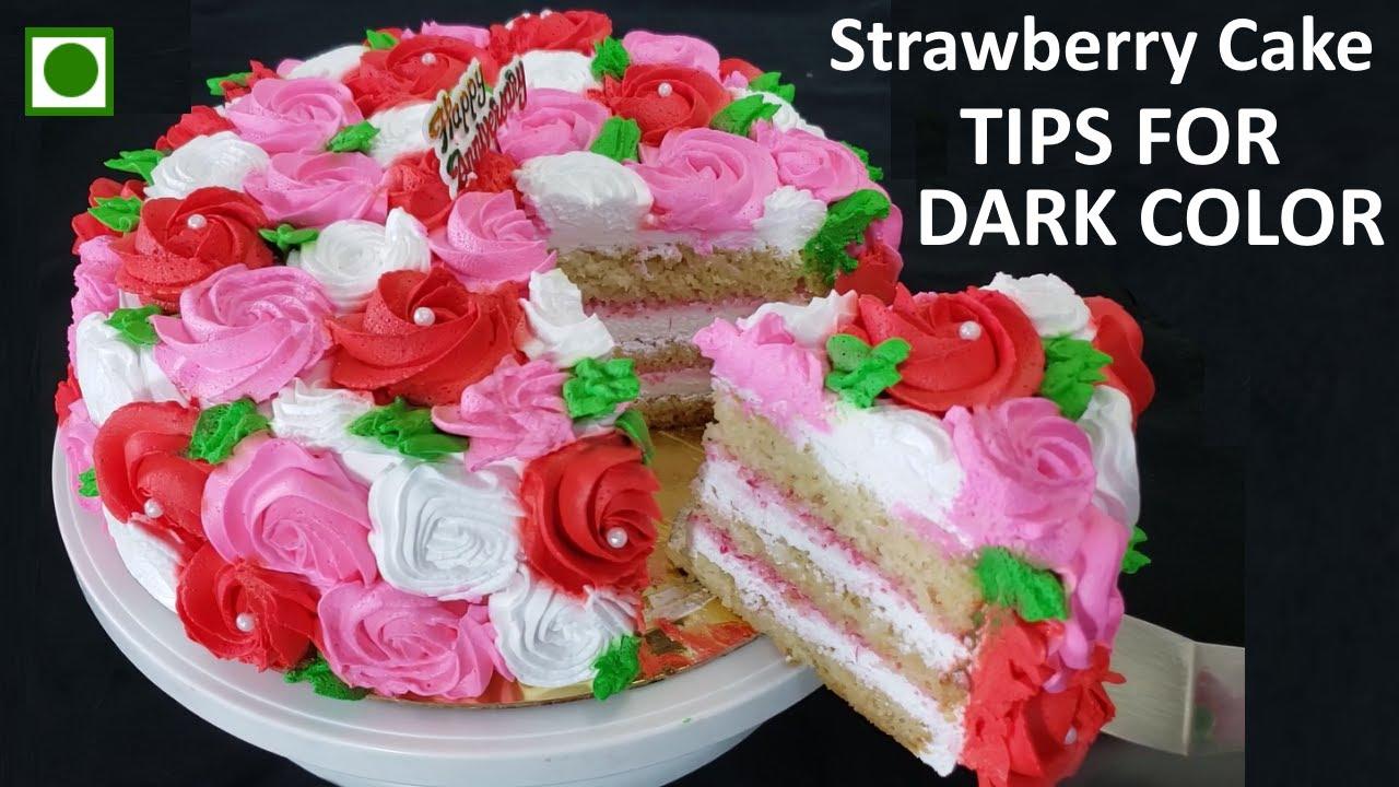 Easy Eggless Strawberry Cake Recipe   Tips for Dark color whip cream   Full of Roses Strawberry Cake