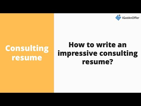 How to write an impressive consulting resume? - YouTube