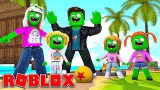 Zombie Roblox Family | Beach Vacation Fun!