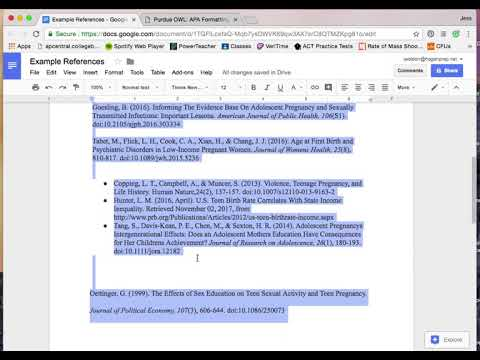 Formatting APA References page on a Google Doc