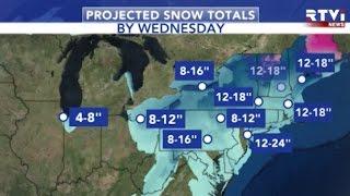 Cнежная буря «Стелла»  в штате Нью Йорк объявлено ЧП