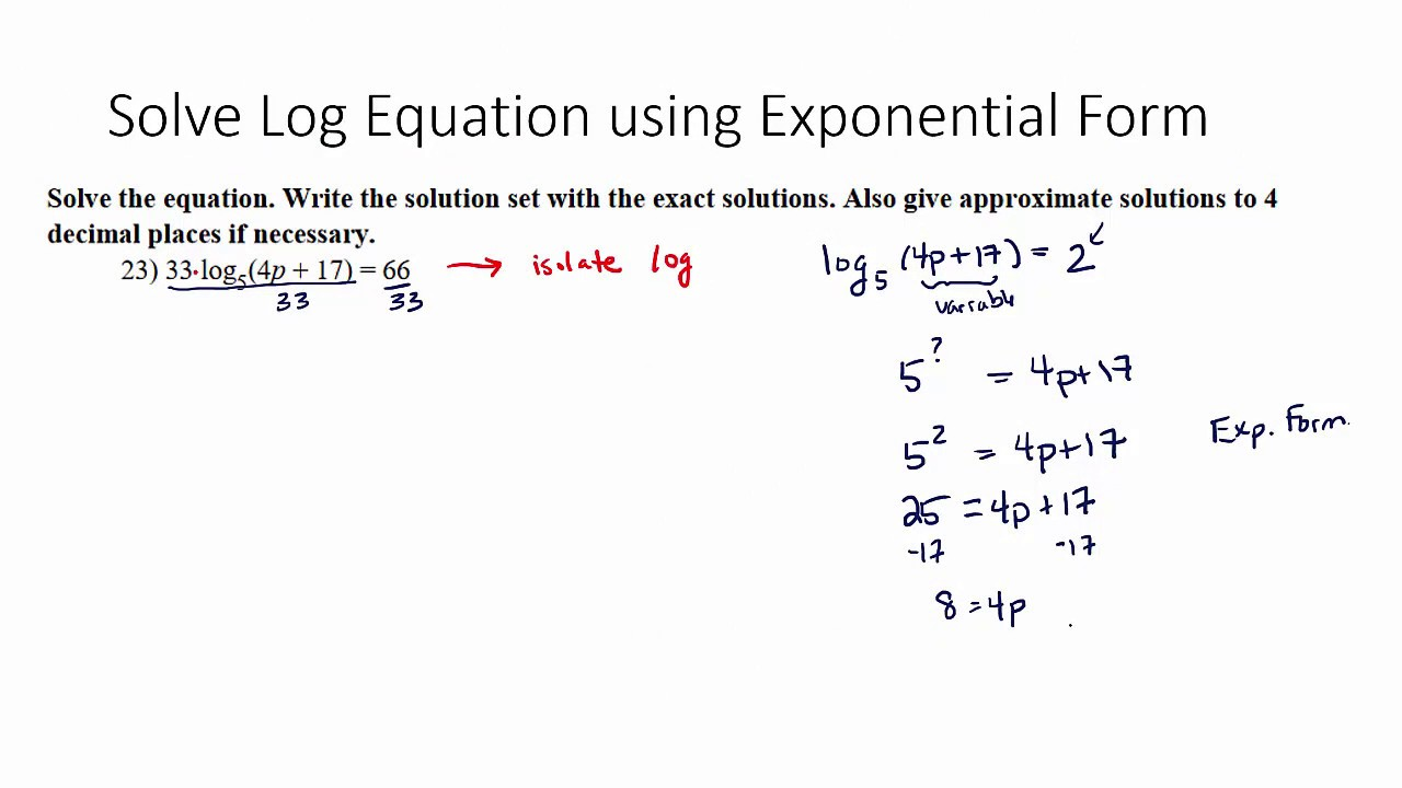 Solve Log Equation Using Exponential Form - YouTube