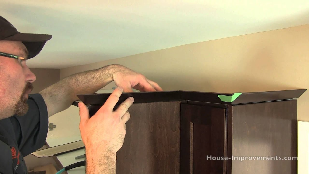 molding on top of kitchen cabinets slip resistant shoes how to install cabinet crown youtube