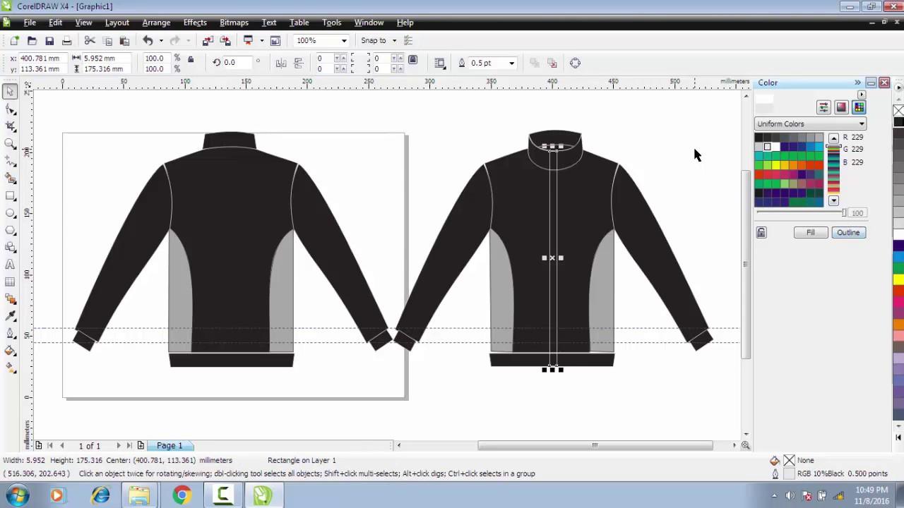 Cara Membuat Desain Baju Jaket Kereeen Depan Belakang Di Coreldraw X4 Youtube