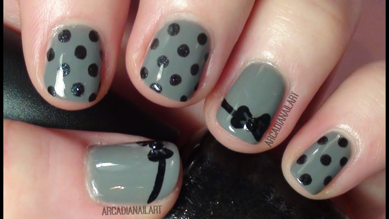 Easy Nail Art Bow And Polka Dot Design On Short Nails