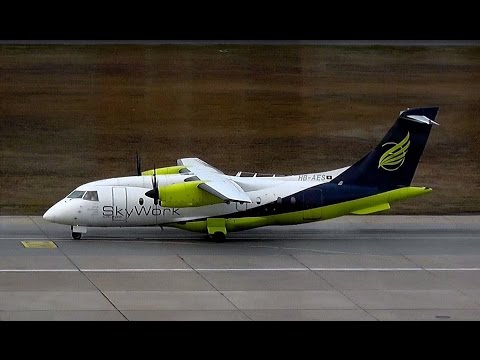 Skywork Airlines Dornier Do-328-110 HB-AES landing and takeoff at Berlin Tegel airport