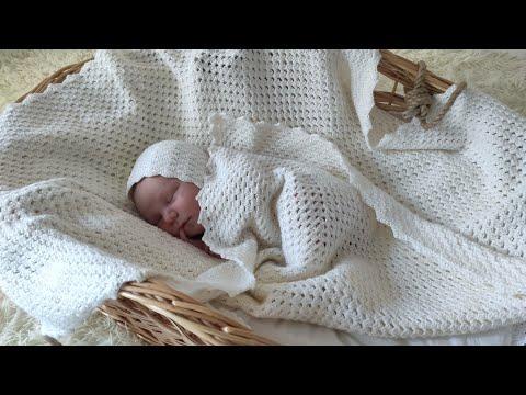 Одеяло связанное крючком для новорожденного