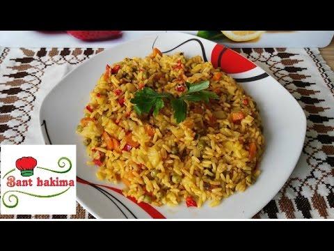طريقة عمل أرز بالخضر  في عشر دقائق riz aux légumes