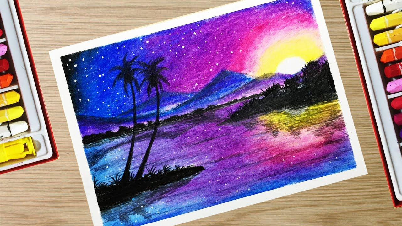 How to draw a Beautiful Landscape Scenery With Oil Pastel ...