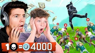 FORTNITE WORLD'S BEST 13 YEAR OLD! 1 KILL = 4,000 *FREE* VBUCKS!