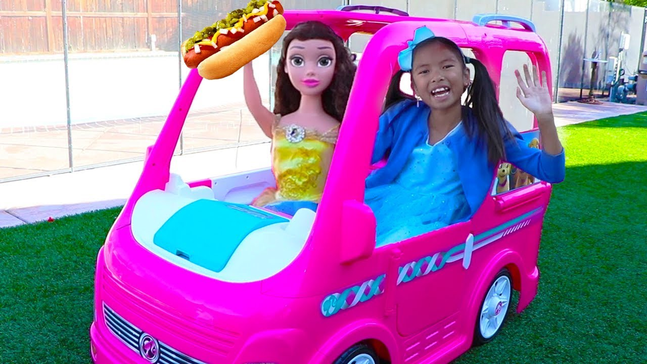 Wendy & Belle Pretend Play w Barbie Power Wheels Camper Food Truck Ride-on Toy