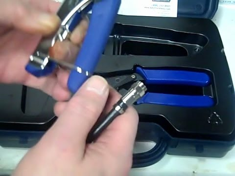 How to Install an F Compression Connector over RG6 Coax Cable using a Compression Tool