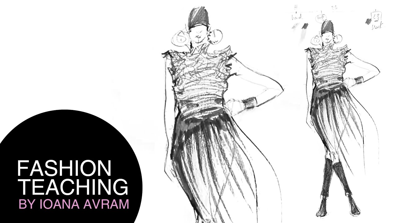 Fashion sketch step by step - YouTube