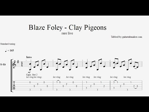 Blaze Foley - Clay Pigeons TAB - acoustic fingerpicking guitar tab ...