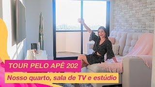 TOUR APÊ 202: Nosso quarto, sala de TV e estúdio!!!   Nah Cardoso