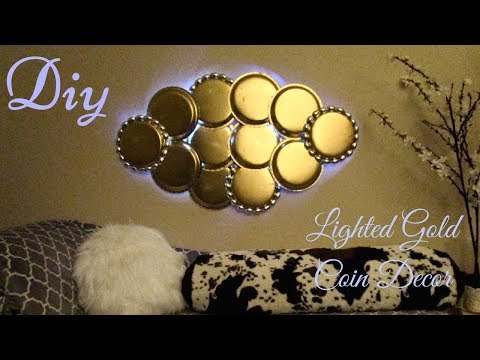 Diy Large Lighted Gold Coin Wall Decor using Dollar Tree Items!