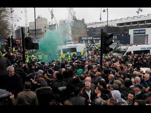 Millwall fans at Tottenham   Police Escort   FT: Tottenham 6-0 Millwall   FA Cup   White Hart Lane  