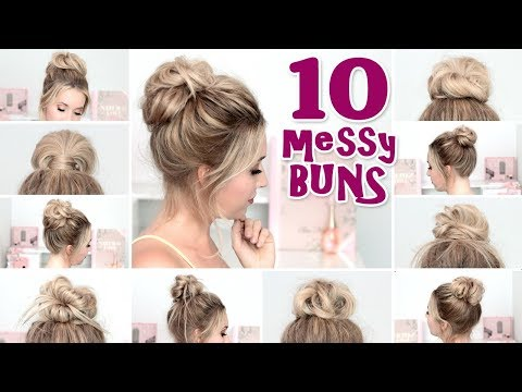 10 MESSY BUN hairstyles for BACK TO SCHOOL ❤ Quick and easy hair tutorial