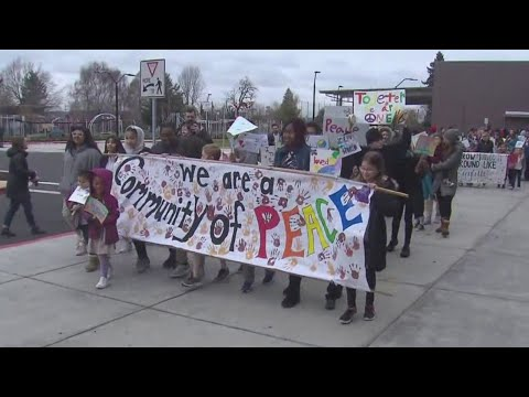Faubion Elementary School students march for peace