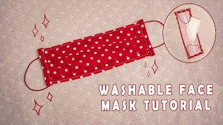 Washable Face Mask with Filter Pocket // Tutorial
