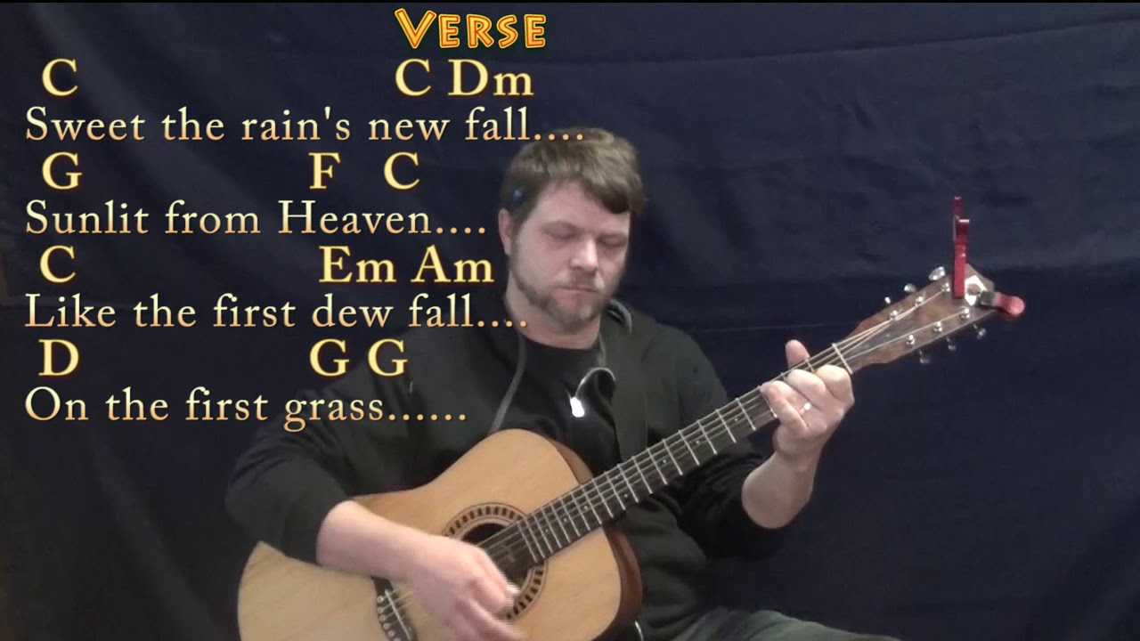 Morning Has Broken Hymn Guitar Lesson Chord Chart In C With Chords