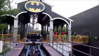 Six Flags New England: Batman the Dark Knight / On Ride Front Row POV / August 22, 2014 / 1080P