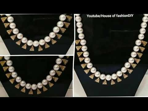 How To Make Simple Pearl Necklace//Antique Necklace at home..!