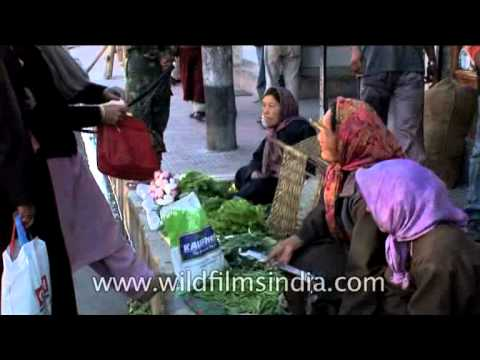 Buying fresh vegetables from smiling Ladakhi women
