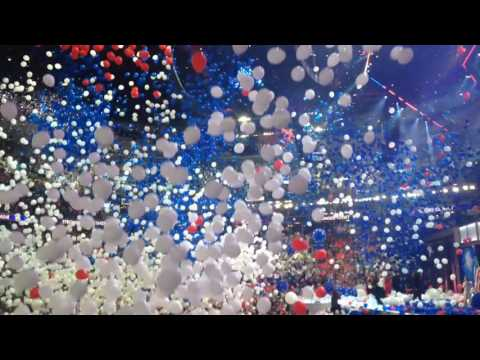 Balloon drop after Hillary Clinton accepts nomination
