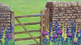 Stone Wall with Gate & Wildflowers Acrylic Painting LIVE Tutorial